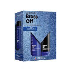 Набор Matrix Total Results Brass Off для нейтрализации нежелательных медных оттенков (Шампунь 300 мл + Кондиционер 300 мл), с витаминизированным маслом,  увлажняет, смягчает, для осветленных и натуральных светлых волос 5-7 уровня тона